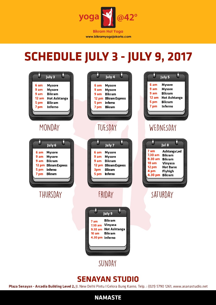Schedule for July 3 – 9, 2017 at Senayan Studio