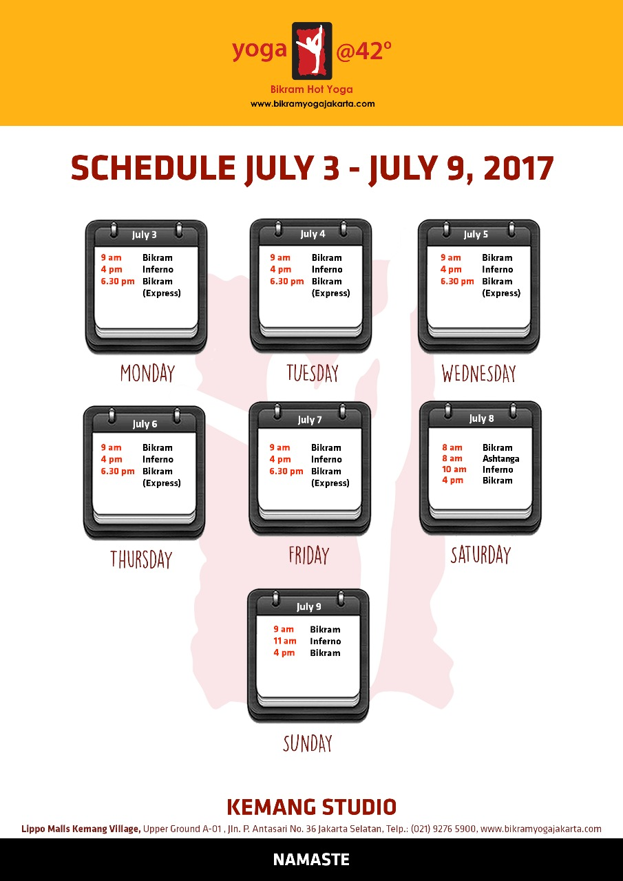Schedule for July 3 – 9 , 2017  at Kemang Studio