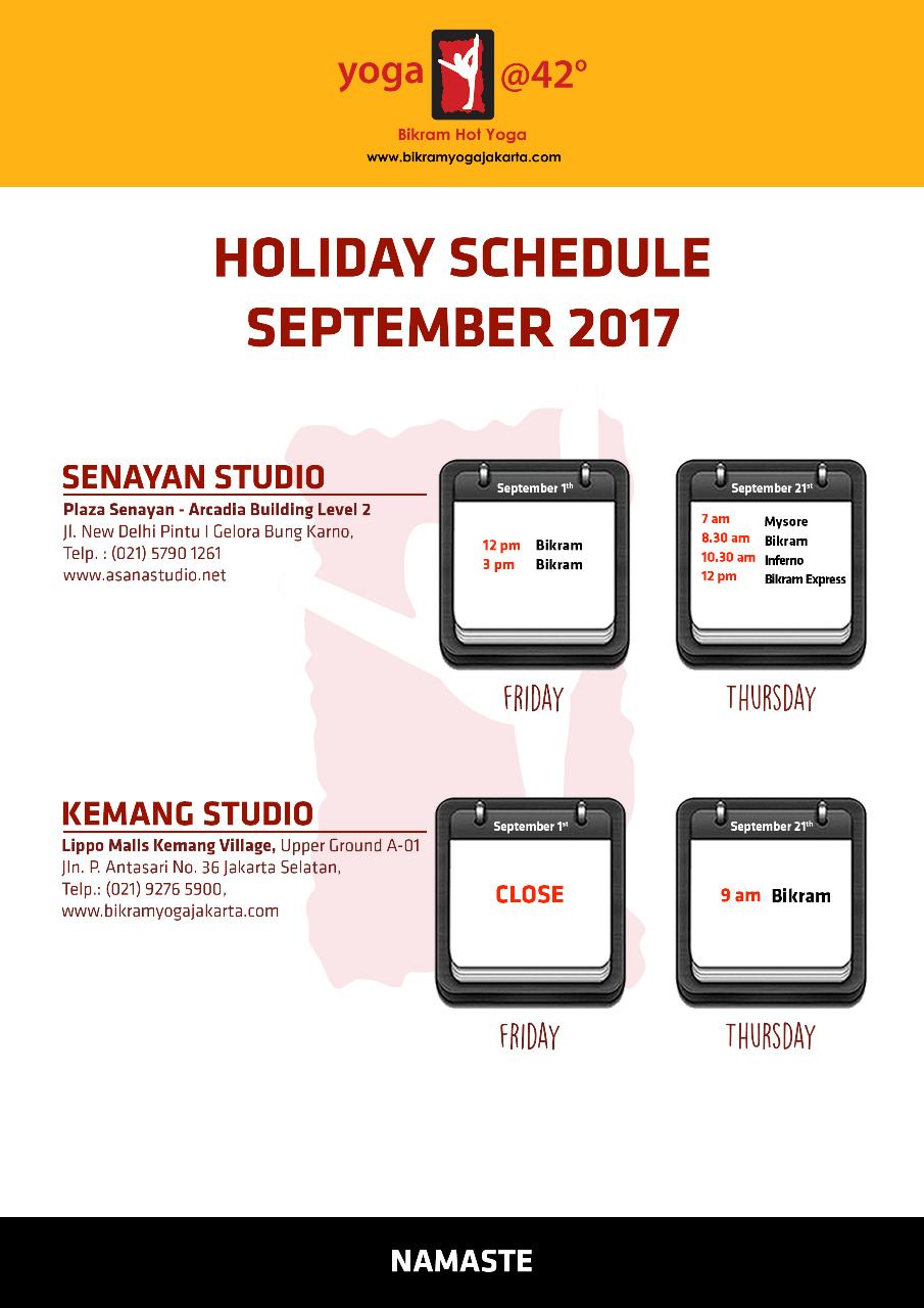 Holiday Schedule For  September 2017