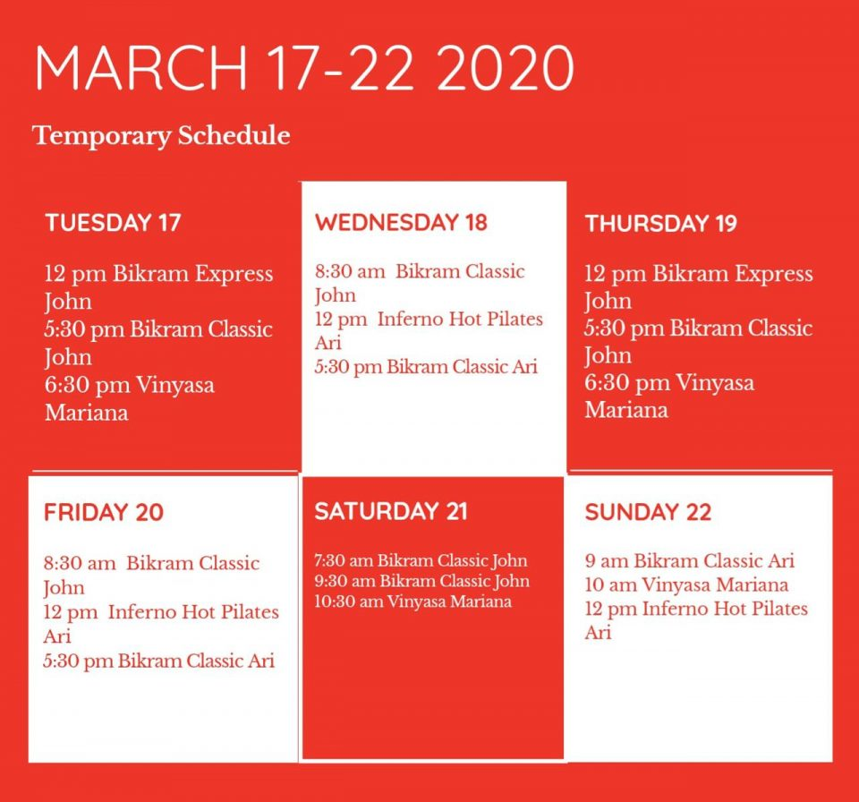 Temporary Schedule ( March 17-22, 2020)