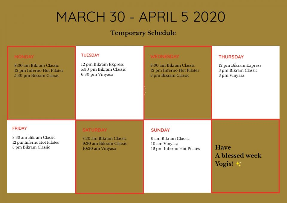 Latest Update : Schedule of Classes March 30 – April 5, 2020